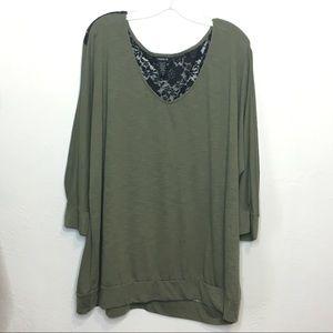 Torrid 4X Knit Blouse Green Black Lace Back 991